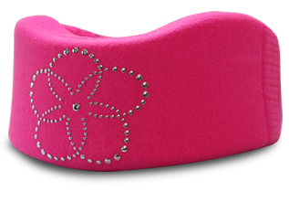 Hot pink cervical collar cover with flower design