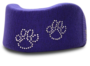 Purple cervical neck collar cover with paw prints design