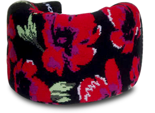 Black cervical collar cover with red hybiscus design