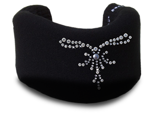 Black cervical collar cover with tiara design